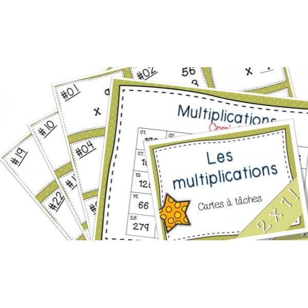 Multiplications Cartes à tâches 2x1