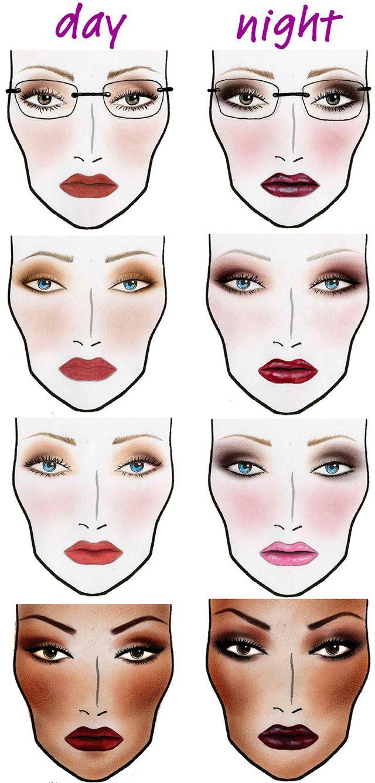 night makeup Pesquisa Google Looks, Face charts