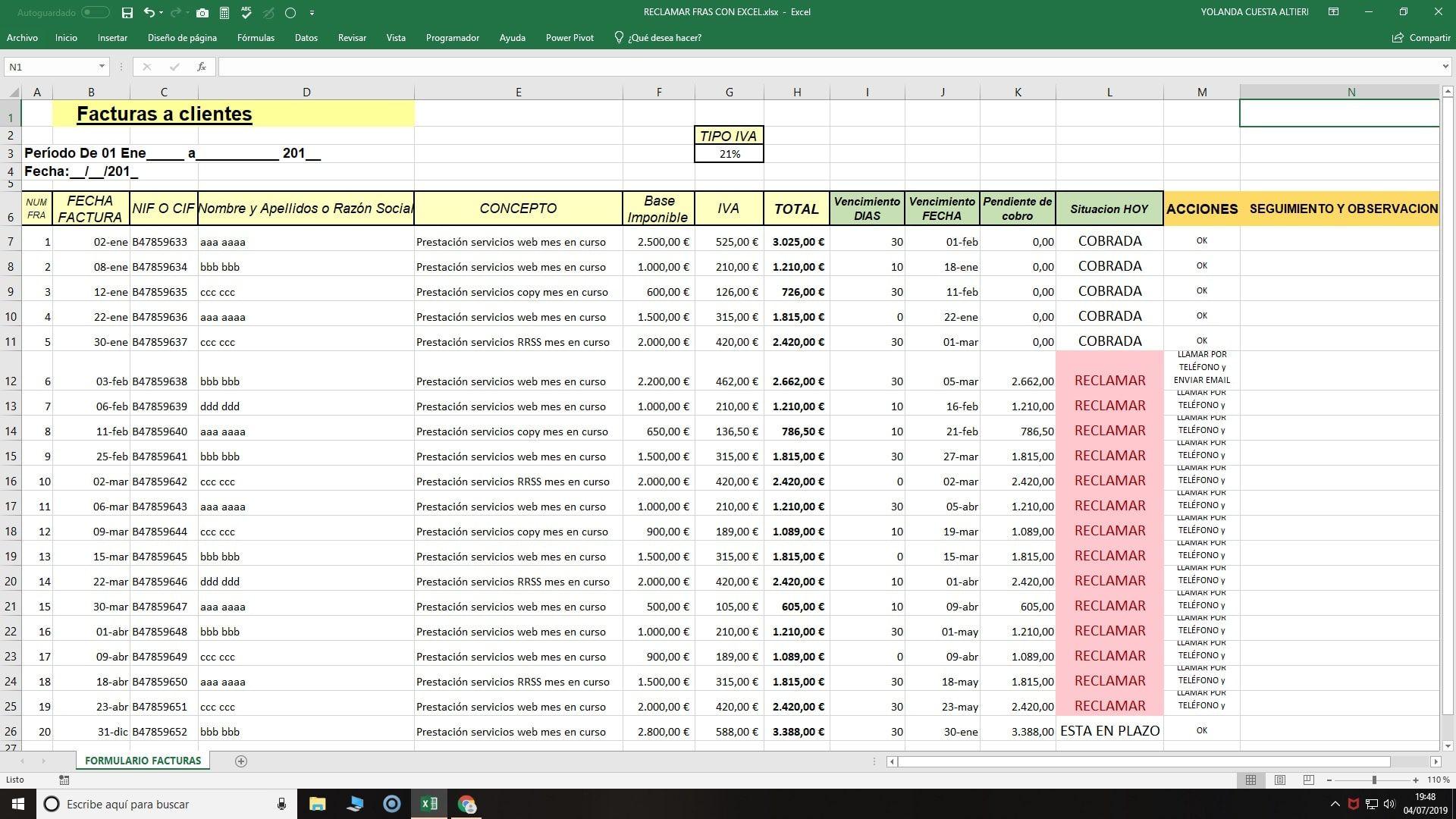 Control En Excel Vencimiento Facturas A Cobrar Empieza Ya Facturas Hojas De Cálculo Libros De Informatica