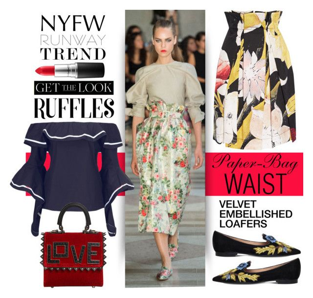 """Hot Runway Trends: Paperbag Waist Skirt & Ruffled Blouse"" by esch103 ❤ liked on Polyvore featuring WithChic, Vivienne Westwood Anglomania, MAC Cosmetics, Alberta Ferretti and Les Petits Joueurs"