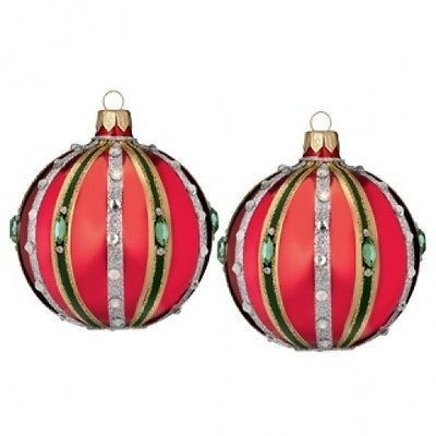 "Waterford Holiday Heirlooms Waterford 3"" Ruby Ball Set of two 2 New In Box"