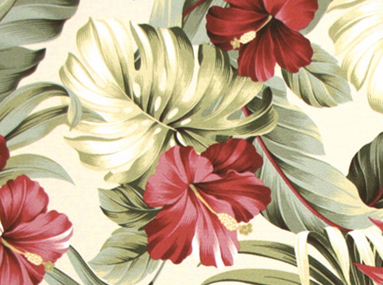 Hawaiian Upholstery Tropical Floral Hibiscus Bird of Paradise
