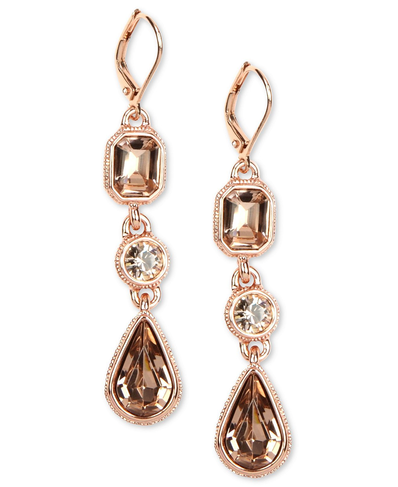 Givenchy Earrings Rose Gold Tone Crystal Triple Drop Earrings