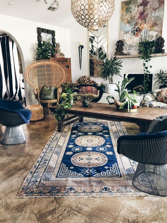 Boho Interior Design, Boheminan Living Room, Boho Decor, Interior Trends  2017, Bohemian