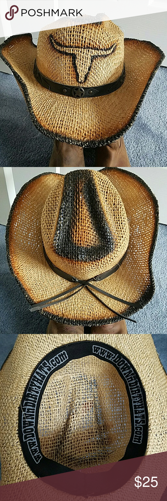 Cowgirl hat Awesome hat with Texas longhorn and cute leather wrap. Worn once. Wear to concerts, beach or just out and about!! Accessories Hats