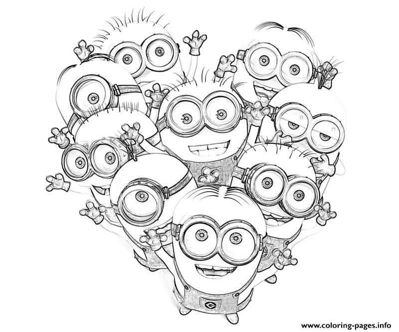 Print Kids Minions Despicable Me S0085 Coloring Pages Valentines