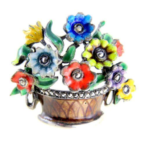 Vintage-Alice-Caviness-Sterling-Enamel-Marcasite-Flower-Basket-Pin