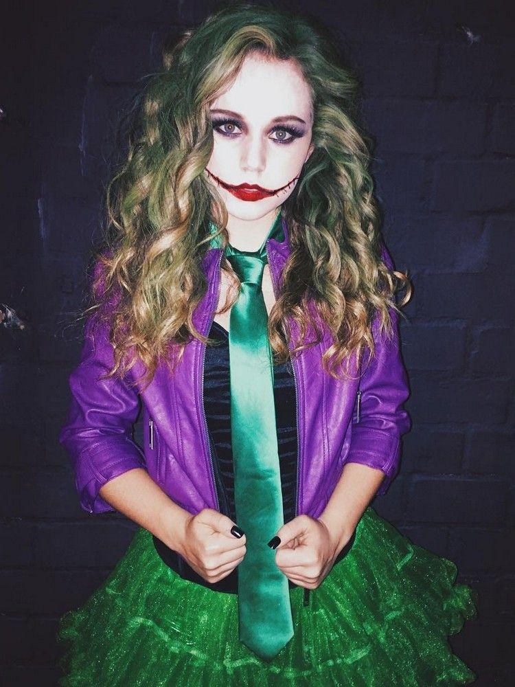 Attraktives Joker Kostpm Fur Damen Mit Rock Und Lederjacke Joker Kostum Halloween Kostume Fur Madchen Madchen Halloween