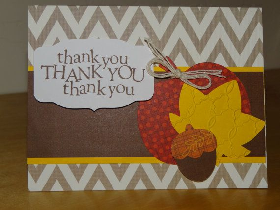 Handmade fall inspired thank you card with by TheBusyBeeCardBox
