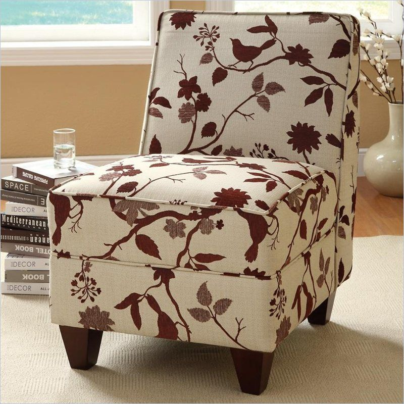 Coaster Accent Chair In White And Brown Upholstered