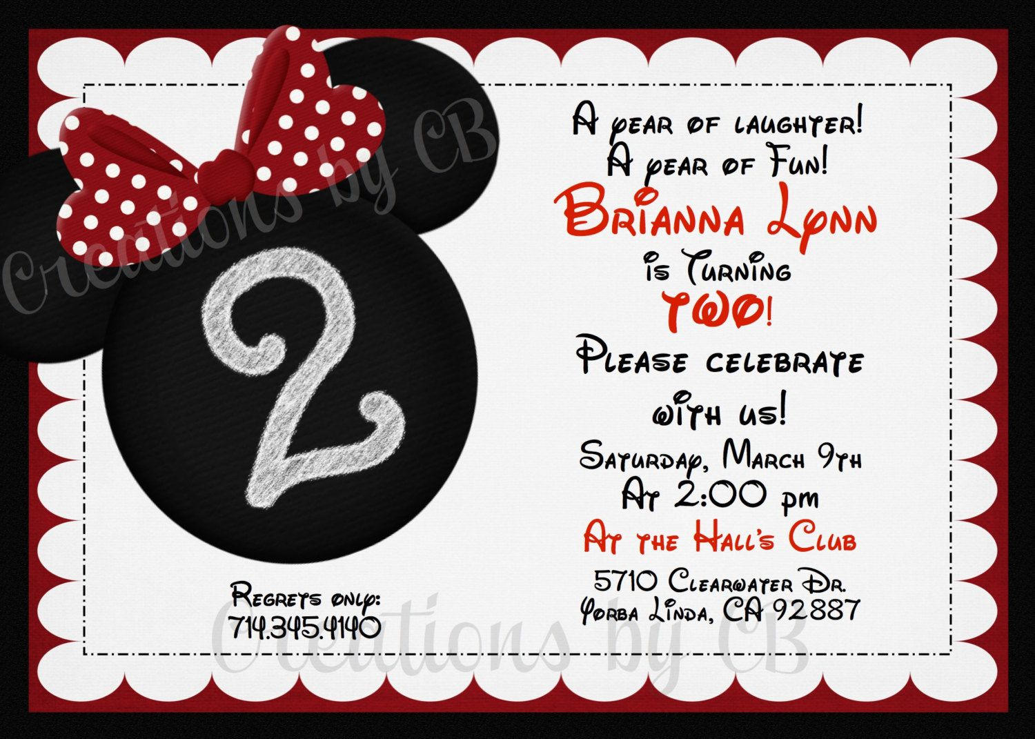 Minnie Mouse Birthday Invitation, Minnie Mouse Birthday Invite, Red ...