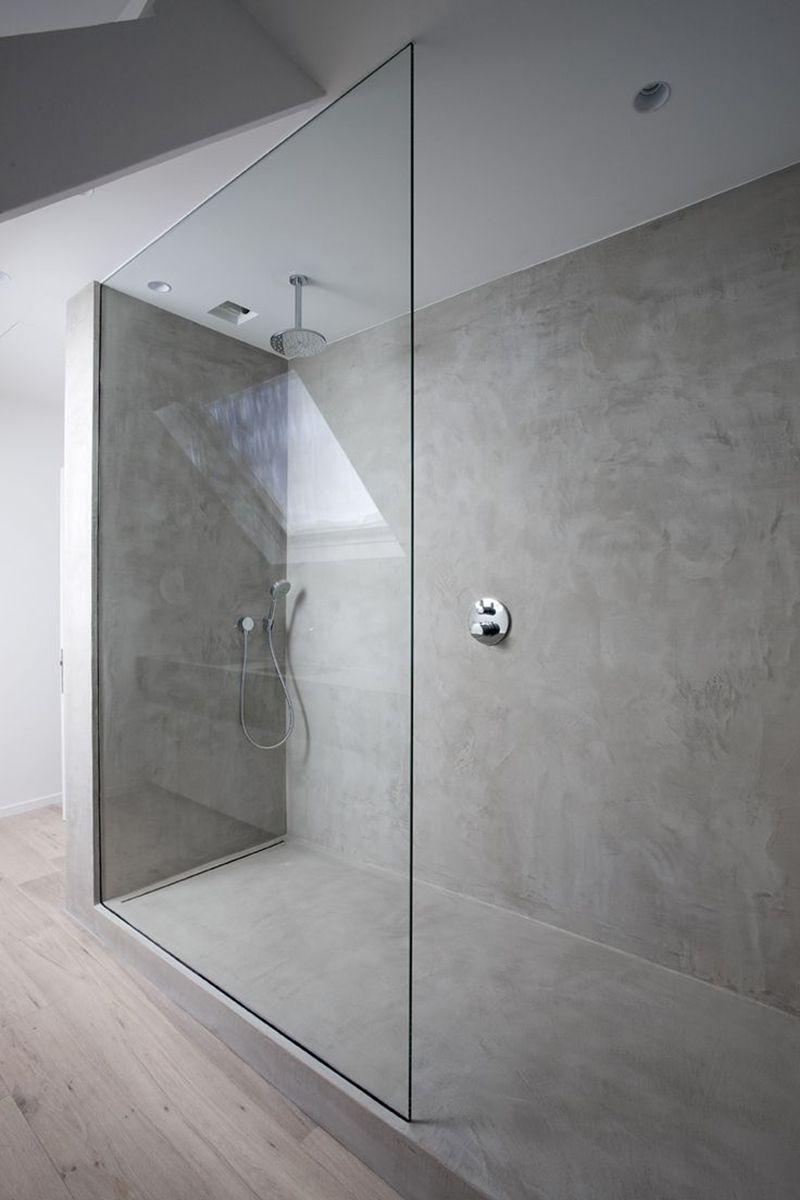 Badezimmerdesign graue fliesen beton im bad  athens  pinterest  badezimmer bad und baden