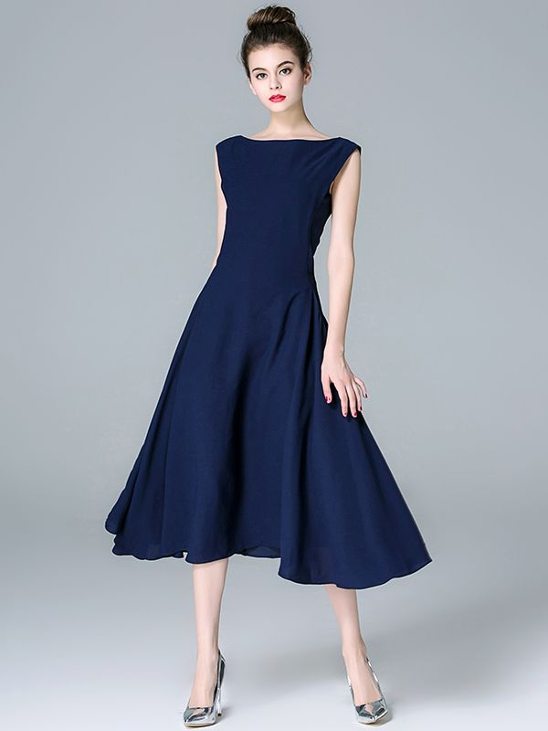 5810b0e6b0ca Navy Blue Solid Color Cinched Waist Midi Dress | Wedding Lovelies ...