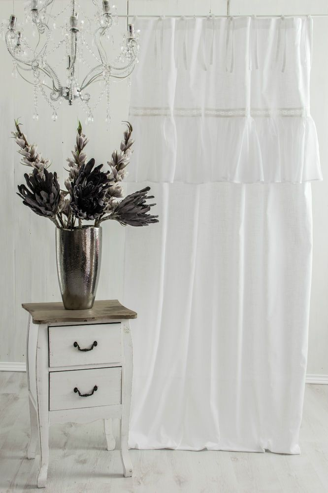 sofia vorhang gardine 140x240cm volant spitze weiss franske landhaus shabby chic heimtextilien. Black Bedroom Furniture Sets. Home Design Ideas