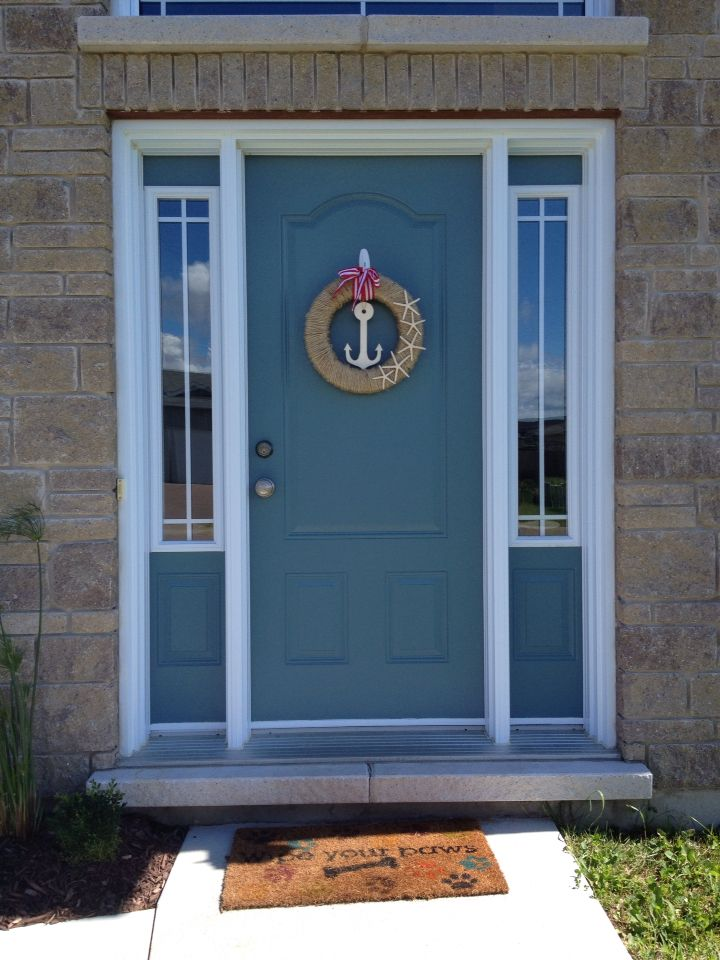 painted blue door behr winter in paris painted front on behr exterior house paint photos id=26655