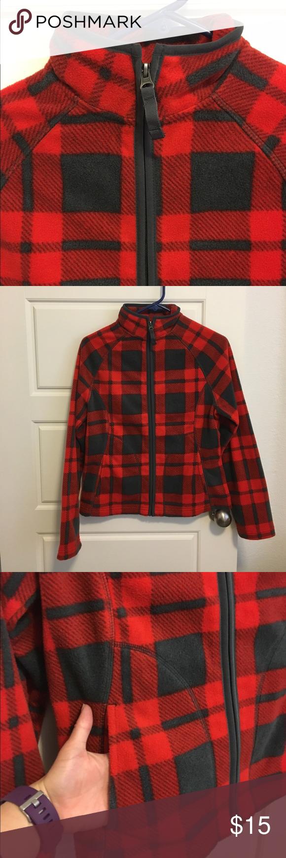 Red u gray fleece jacket