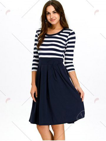 a8f3d11e18 A Line Stripe Dress - PURPLISH BLUE S Mobile Casual Dresses