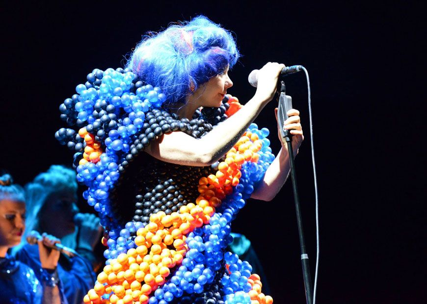 Björk wearing a Daisy Balloons dress at the Fuji Rock Festival '13