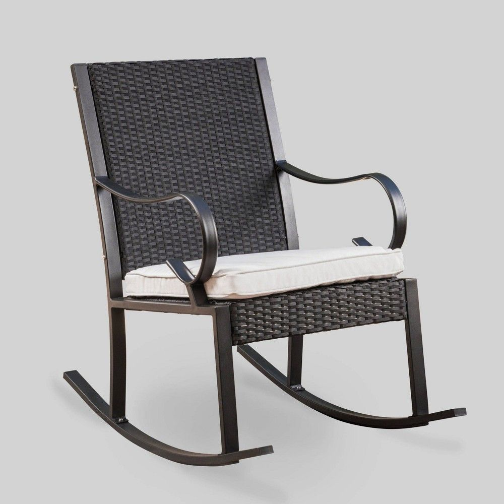 Black Wicker Rocking Chairs Harmony Wicker Patio Rocking Chair Black White Christopher