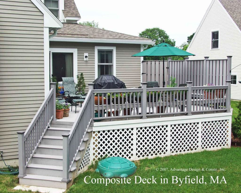 grey and white composite decking gardening outdoor living