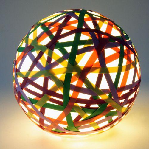 Ulemetsali 'U' Lamp: Made of handblown glass and elastic bands. #Lamp #Rubberband