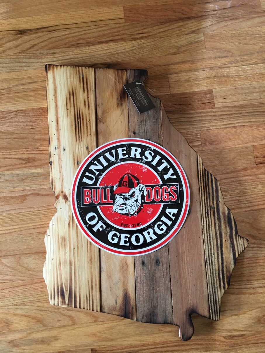 "Georgia cutout with 12"" Georgia Bulldog sign. Built with reclaimed pallet wood."