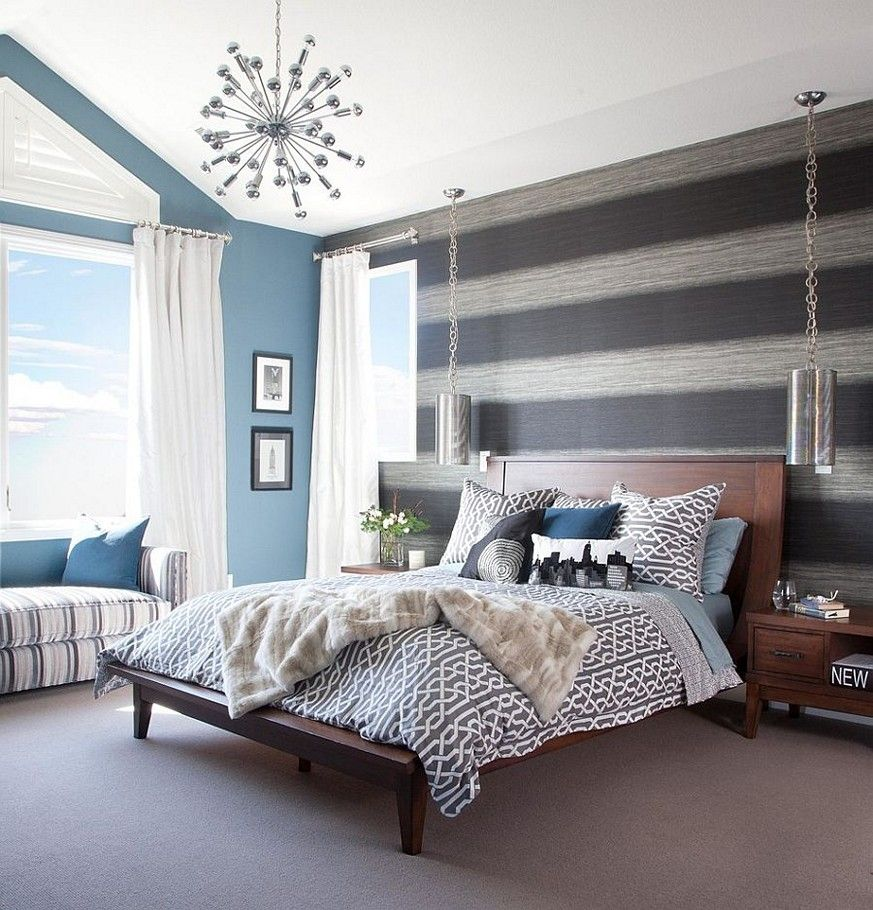 Navy Blue Accent Wall Bedroom Modern Bedrooms Grey With