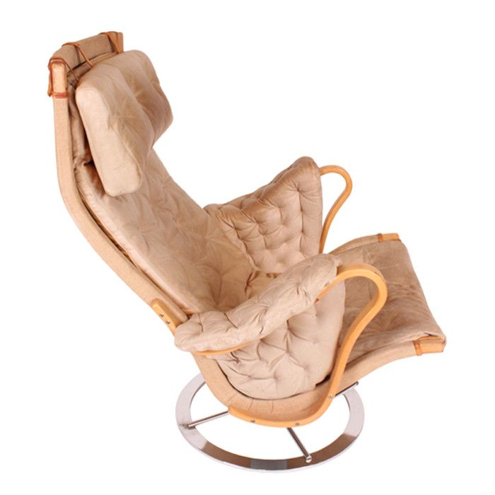Vintage Bruno Mathsson Pernilla Leather Chair in Tan