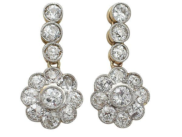 2 05 Ct Diamond And 14 Yellow Gold Drop Earrings Antique Circa 1920 Sku