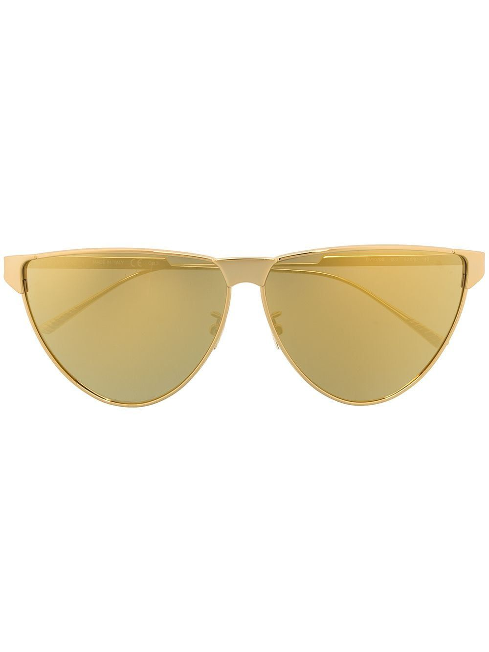 Gold metal BV1070s cat-eye sunglasses from BOTTEGA VENETA EYEWEAR featuring logo-debossed arm, yellow tinted lenses, nose pads and cat-eye frame. We know you'll look after them, but these glasses come with protection, just in case.