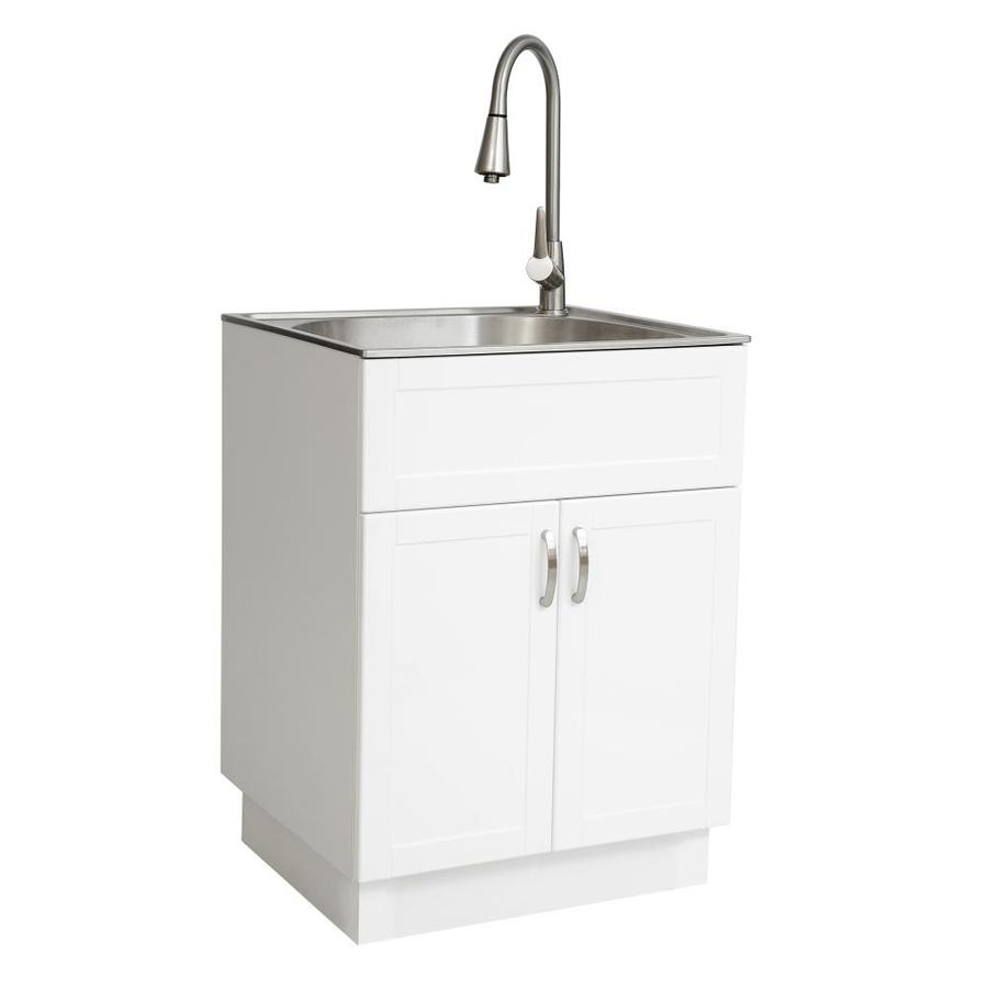 Transform 21 34 In X 24 17 In 1 Basin White Freestanding Stainless Steel Laundry Sink With And Faucet At Lowes Com Laundry Sink Laundry Room Sink Basin White