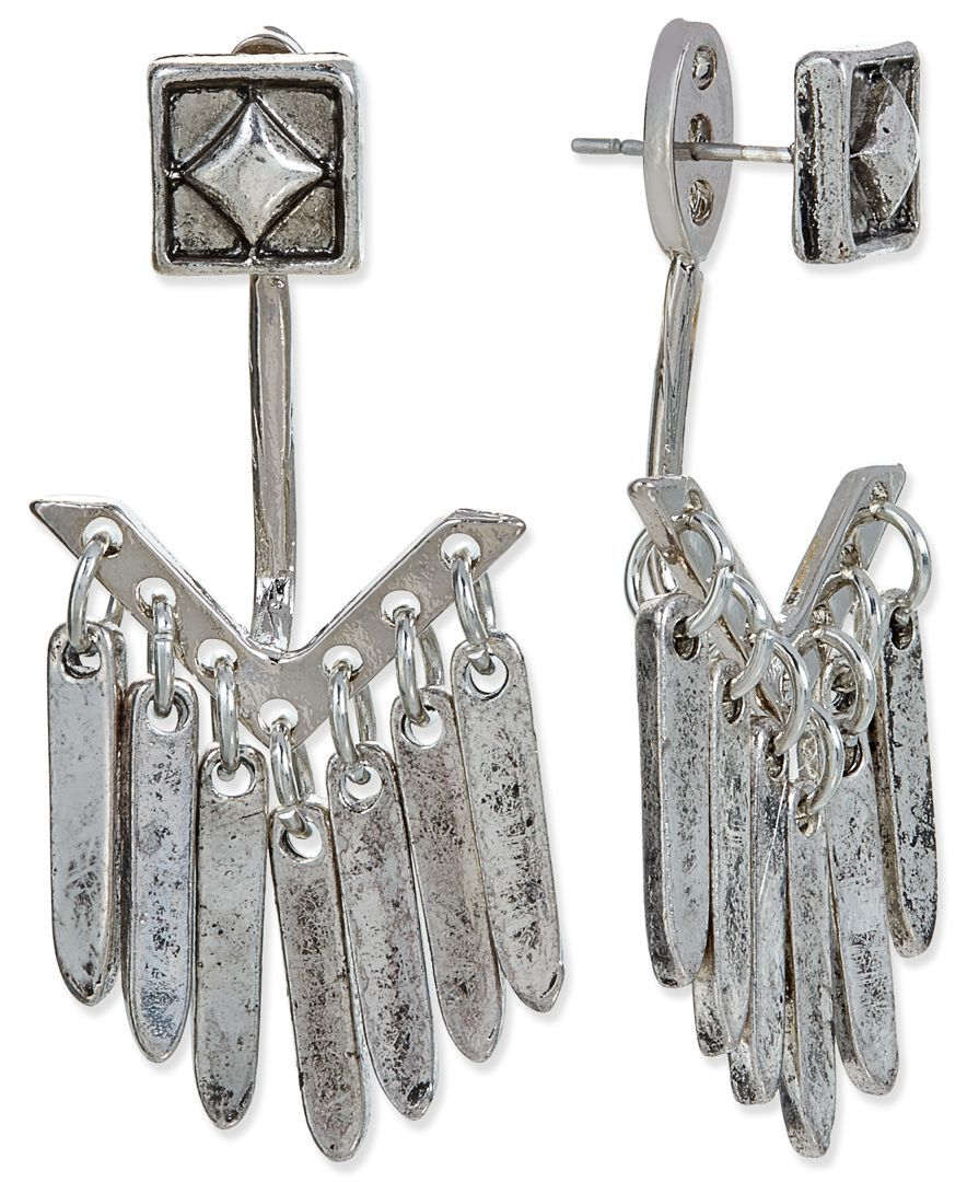 Silver-Tone Square Stud and Shaky Stick Earring Jacket Earrings