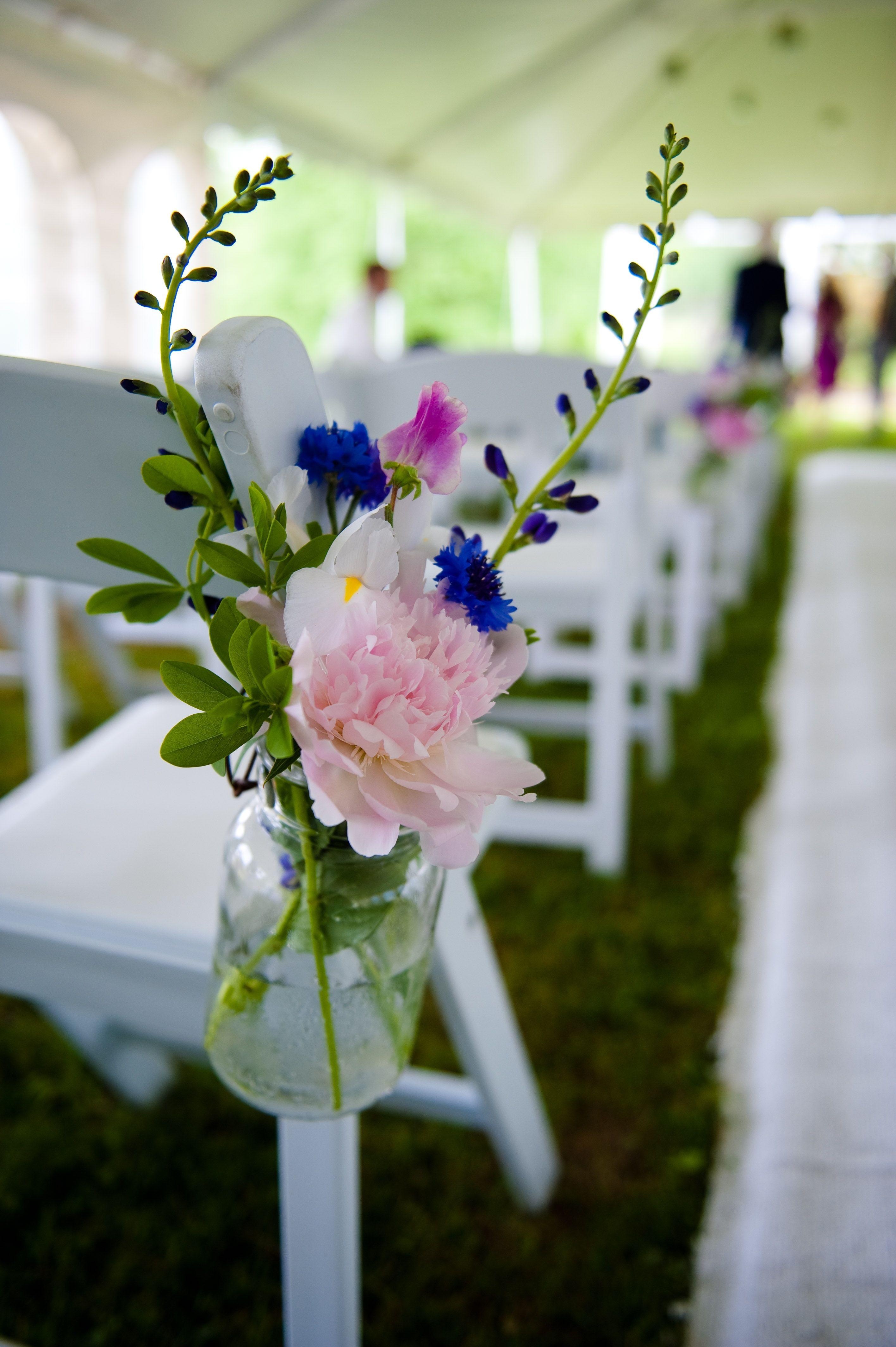 Hanging Mason Jar wedding aisle decor   Blue and Purple ...