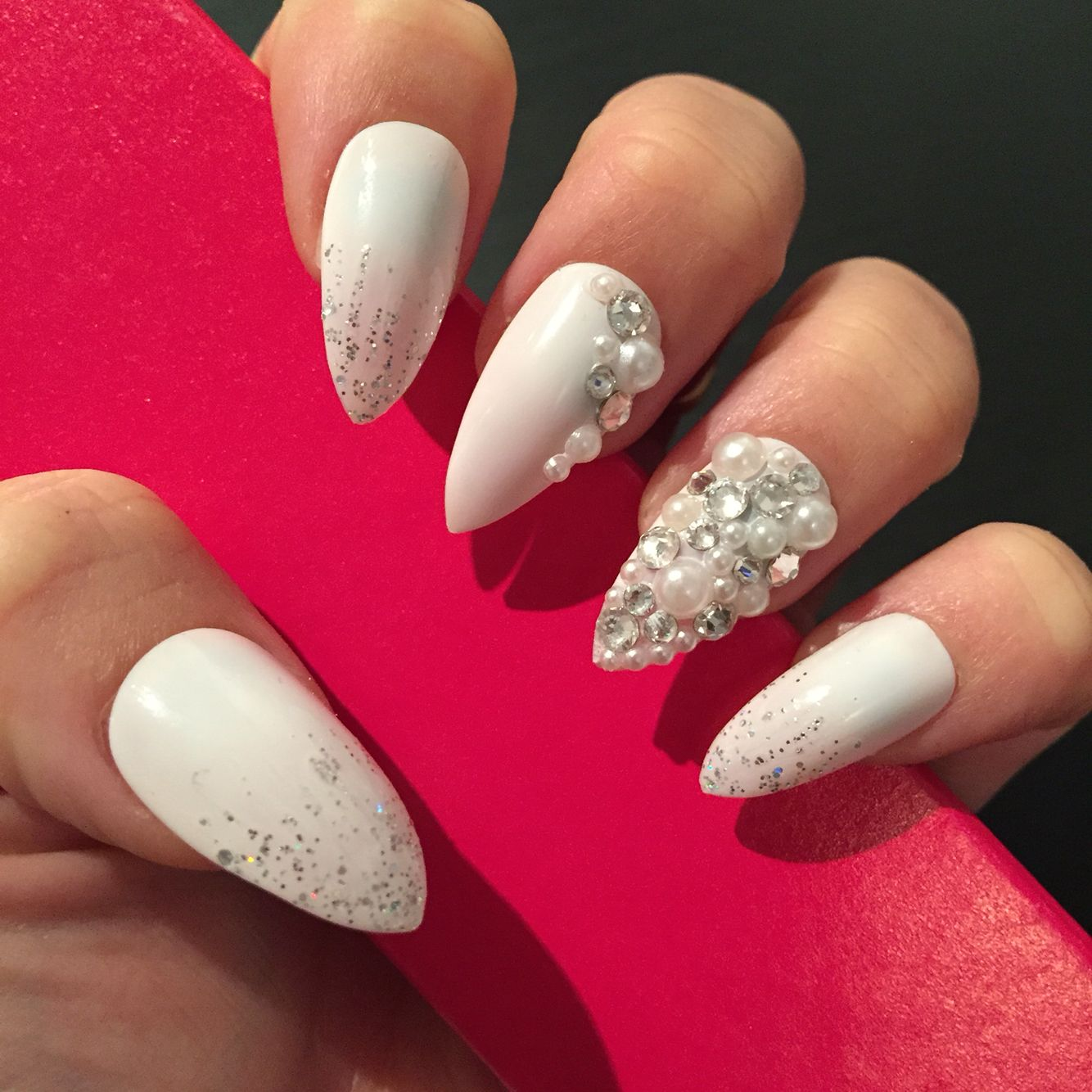 Stiletto wedding nails with pearls and Swarovski | Nails | Pinterest ...