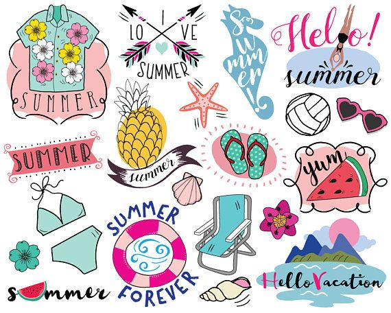 Summer Vacation Clipart Vector Beach Pineapple Clip