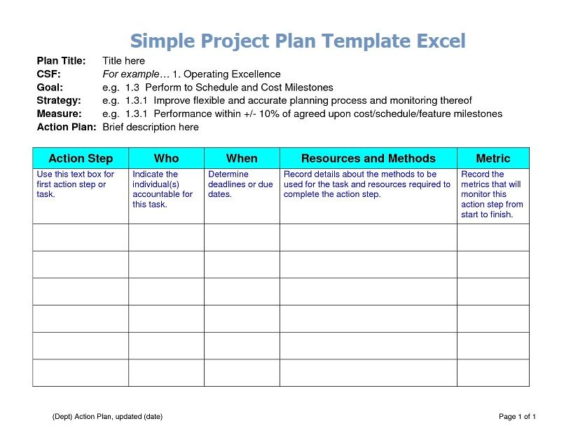 Simple Project Plan Template Excel Action plan template