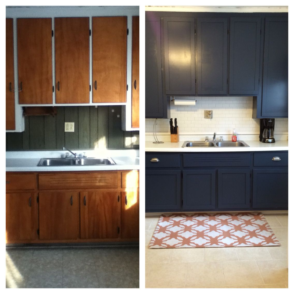 Apartment Kitchen Cabinets: $500 DIY Small Apartment Kitchen Remodel. Painted Cabinets, Added Shaker Style Trim To Cabinets