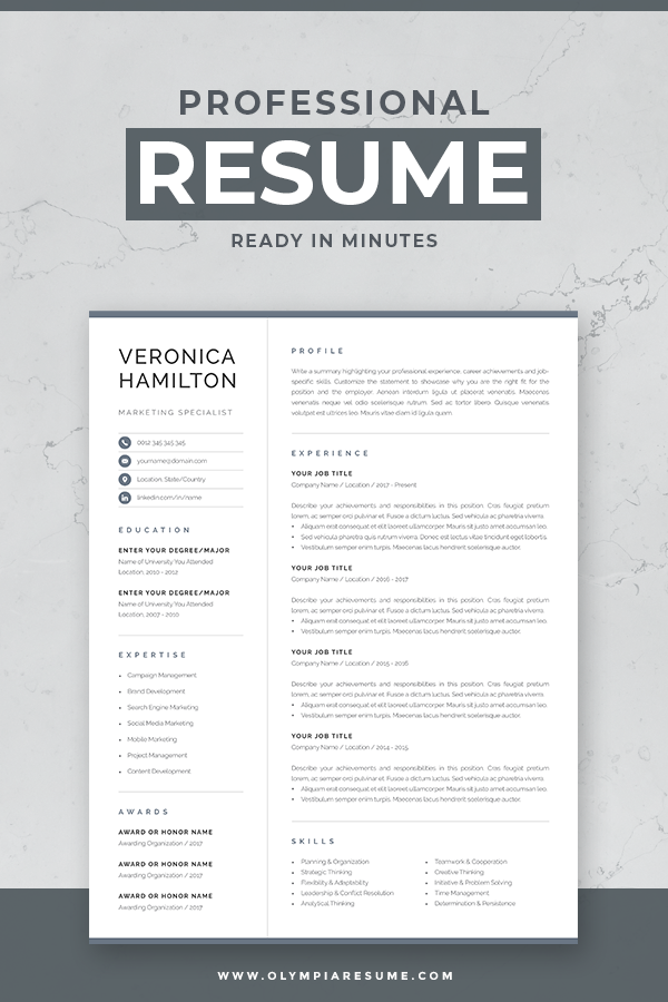 Resume Template For Word Mac Pages With Cover Letter And References Page Compact 1 Page Resu Resume Design Template Resume Template Word Job Resume Template