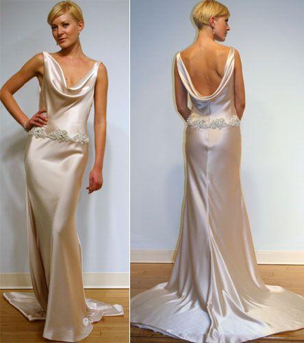 Cowl Neck Silk Sheath Wedding Gowns: Wedding Dresses Ivory Charmeuse Cowl Neck Front Floor