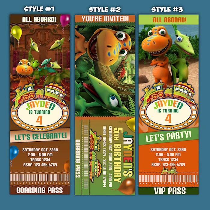 Personalized Dinosaur Train ticket style Birthday Invitations ...