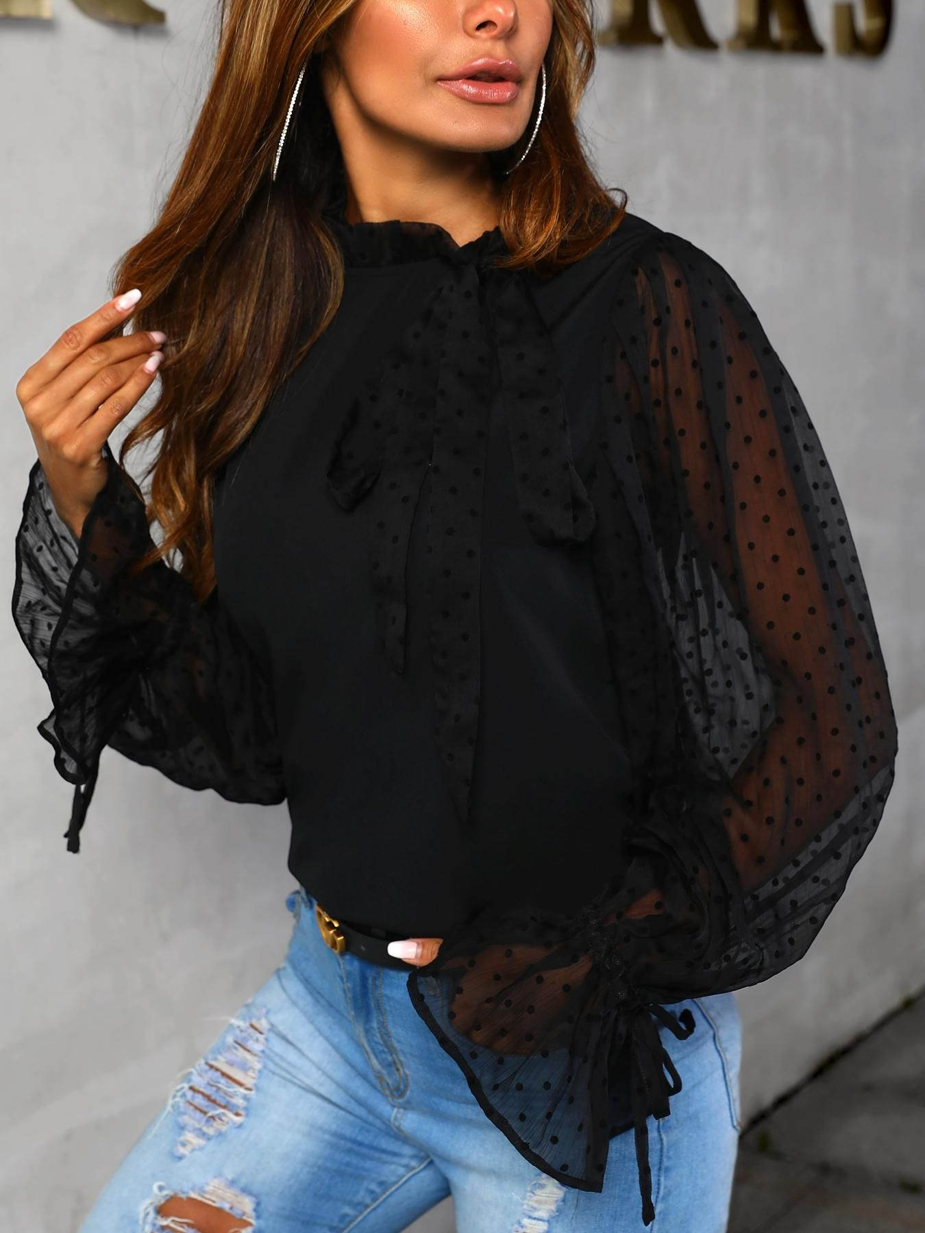 a213c16f07 ivrose / Dot Sheer Mesh Insert Bowknot Blouse in 2019 | Clothes ...