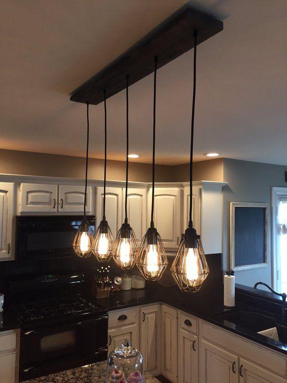 Industrial Modern Reclaimed Wood Chandelier 5 Pendant Light Chandelier Lighting Rustic Kitchen Lighting Rustic