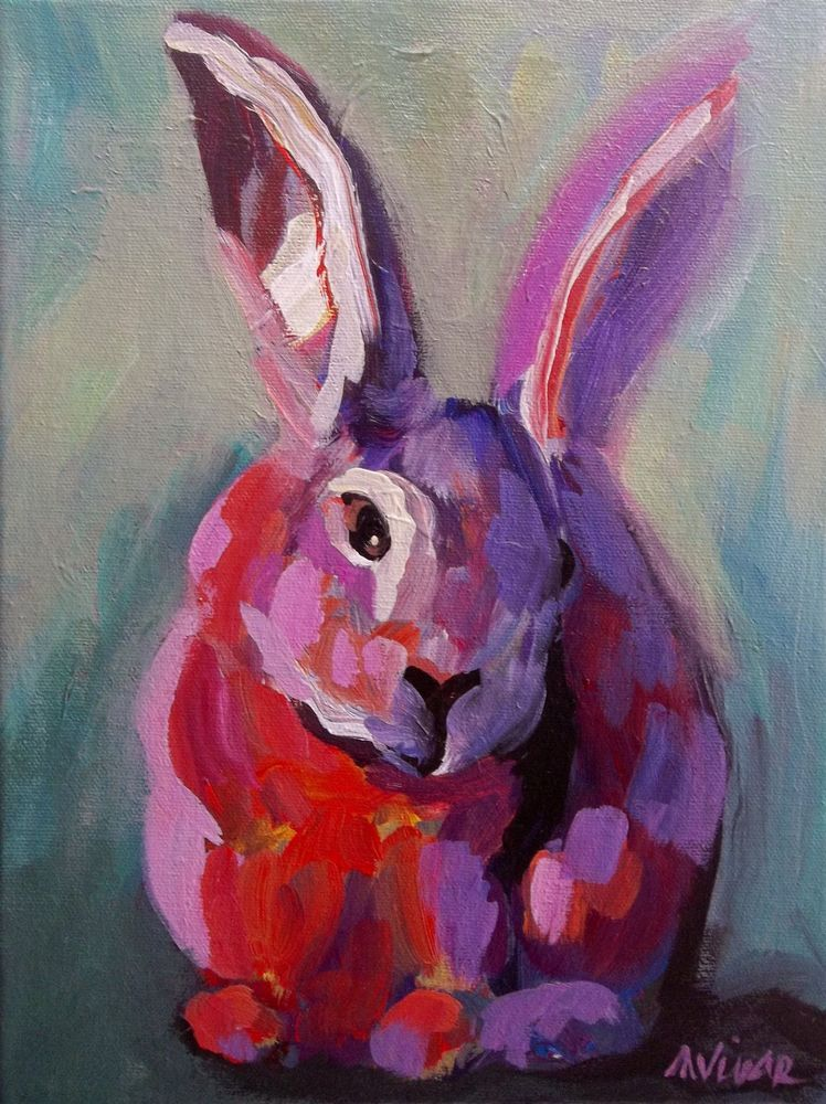 Mona Vivar Bunny Rabbit Animal Abstract Cute Original Impressionist Painting Art #Abstract