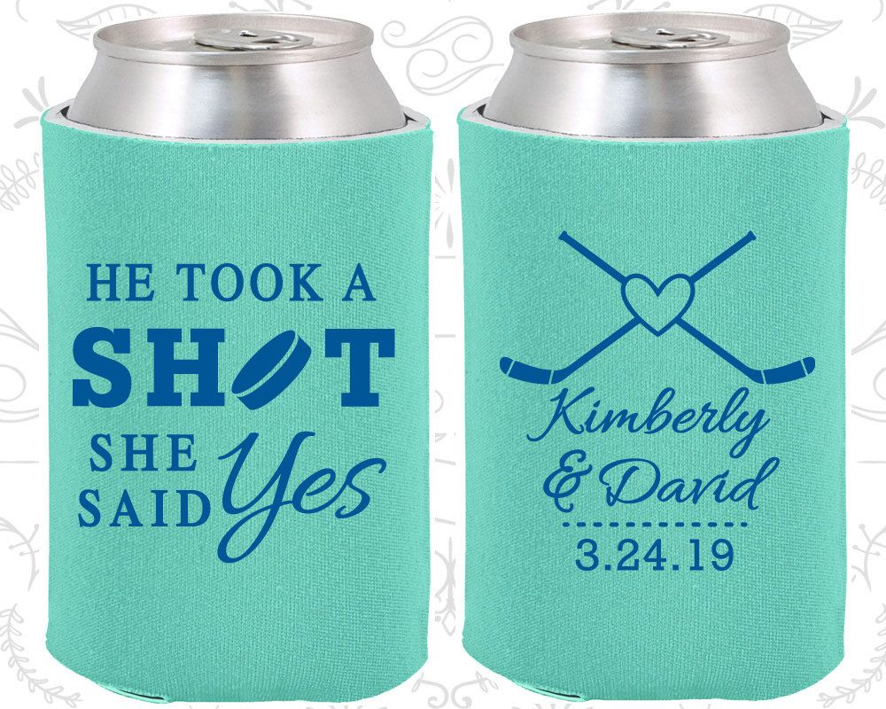 He Took A Shot She Said Yes Personalized Favors Hockey Wedding