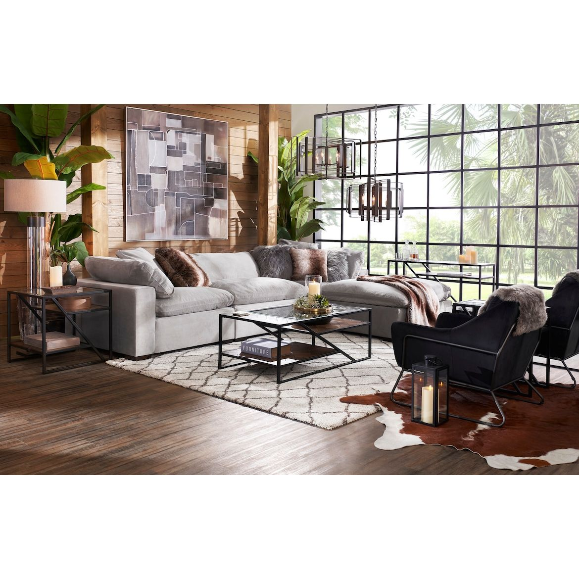 Plush 3 Piece Sofa And Ottoman City Living Room Furniture Value City Furniture