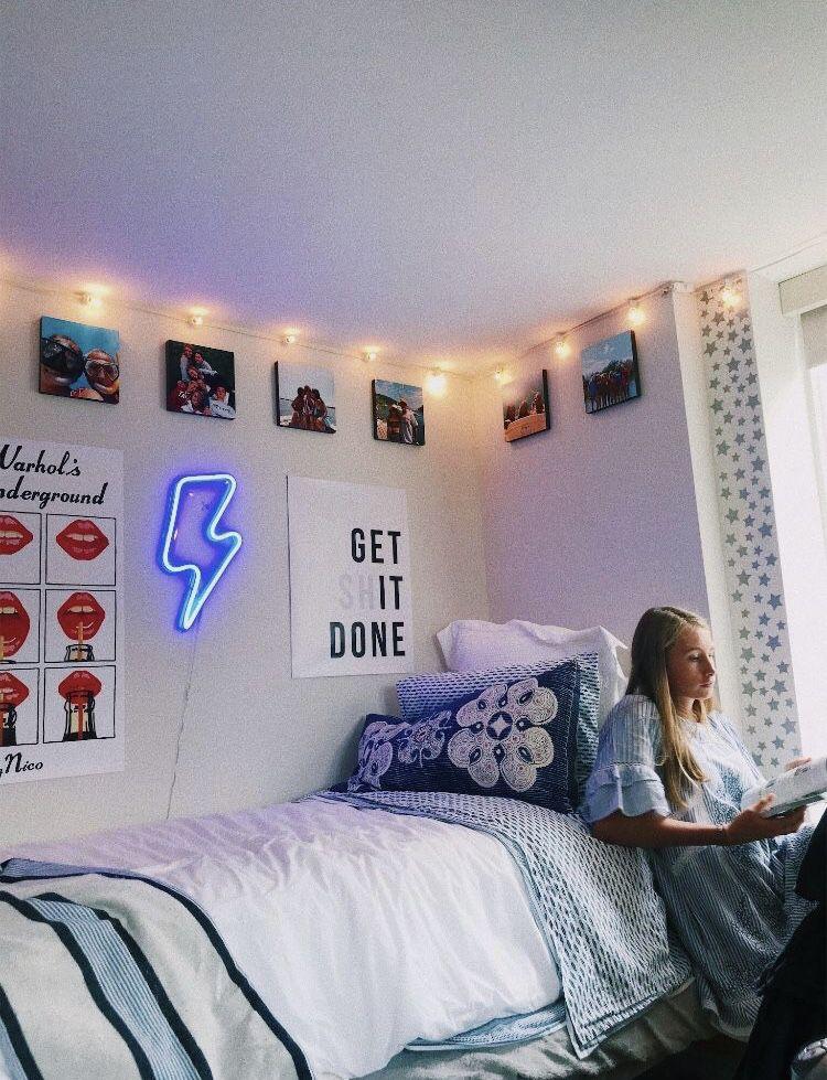 Blue Neon Lightning Bolt | Aesthetic room decor, Cute dorm ... on Room Decor Ideas De Cuartos Aesthetic id=19915