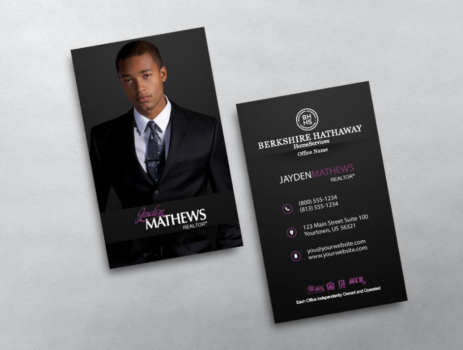 Berkshire Hathaway Business Card Style Bhr219 Real Estate Business Cards Keller Williams Business Cards Vertical Business Card Design