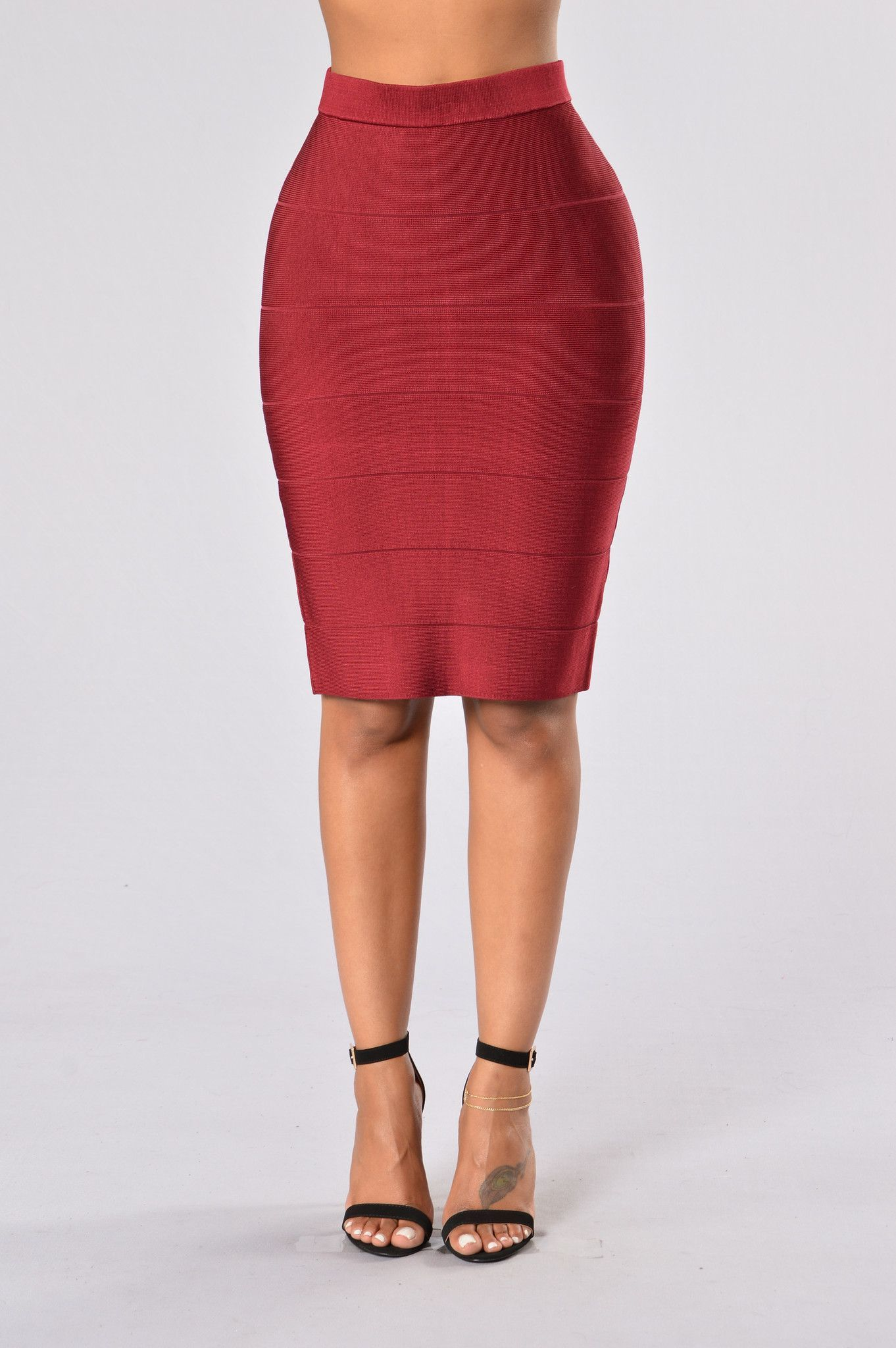 Fit To Me Bandage Skirt - Burgundy