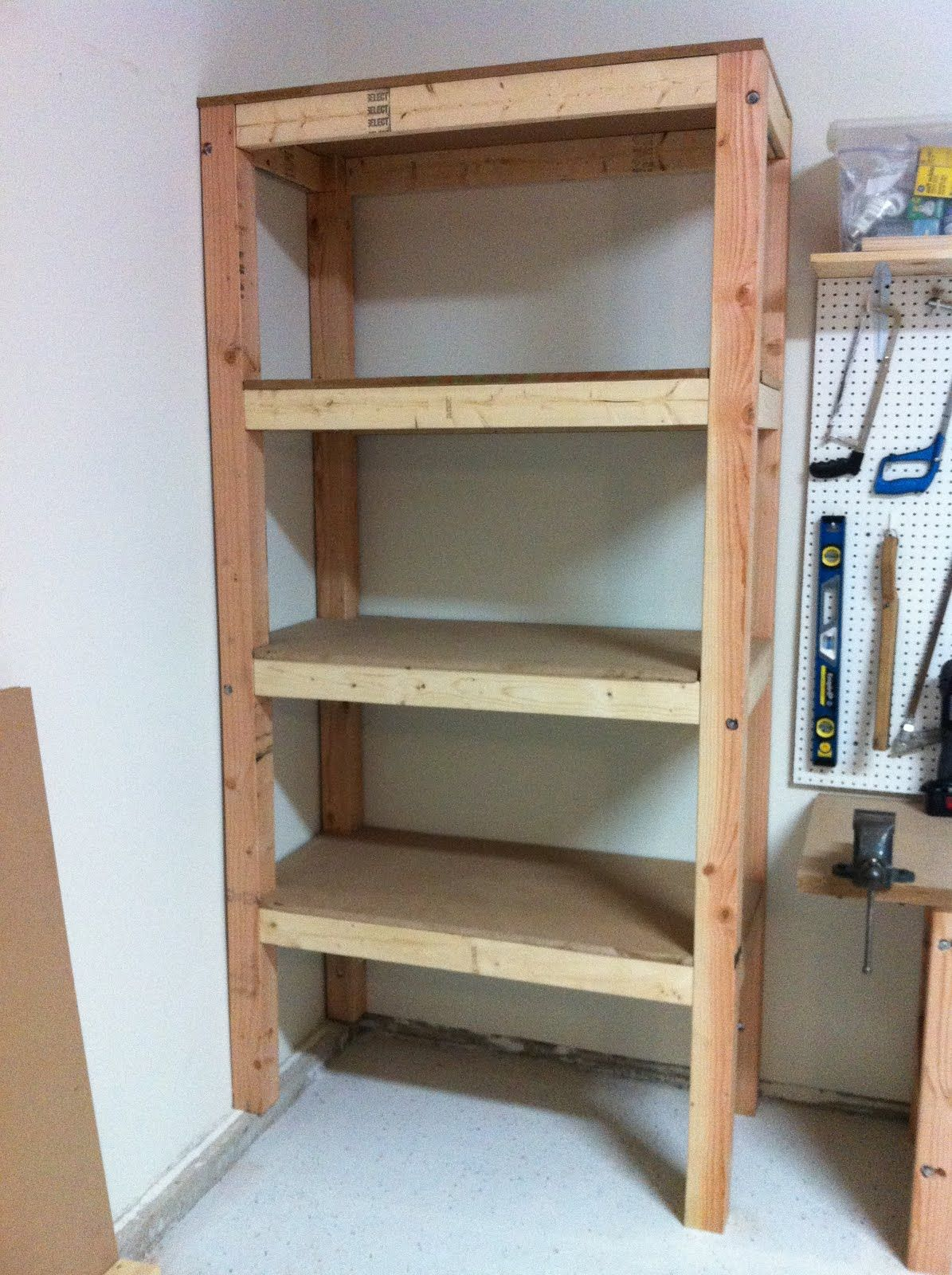 Diy garage shelving ideas shelves 3 4 39 mdf board Cool wood shelf ideas