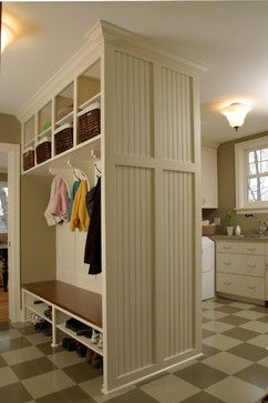 If You Have A Big Open Space Try Adding A Room Divider With Storage To Serve As A Mudroom Organizer Mudroom Laundry Room Mudroom Design Laundry Mud Room